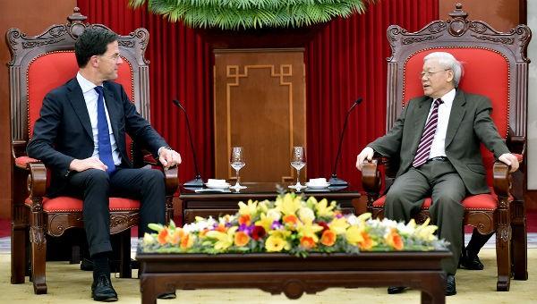 Tổng Bí thư, Chủ tịch nước Nguyễn Phú Trọng tiếp Thủ tướng Hà Lan Mark Rutte