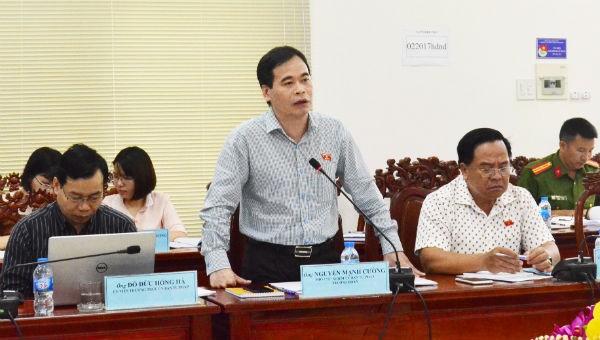 Phó Chủ nhiệm Ủy ban Tư pháp Nguyễn Mạnh Cường phát biểu tại buổi làm việc