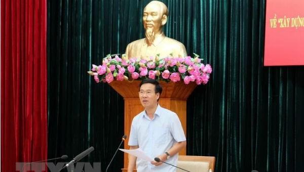 Trưởng Ban Tuyên giáo Trung ương Võ Văn Thưởng phát biểu tại cuộc làm việc