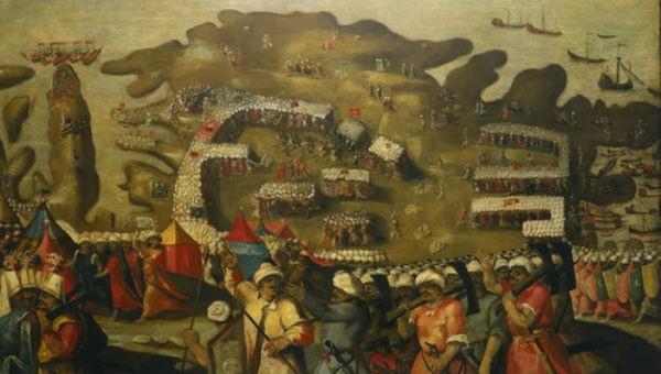Tranh vẽ mô tả cảnh quân Ottoman đổ bộ lên đảo Malta