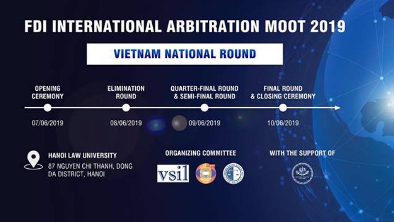 Đại học Luật Hà Nội kết hợp với Hội luật Quốc tế Việt Nam tổ chức vòng thi Quốc gia FDI Moot 2019