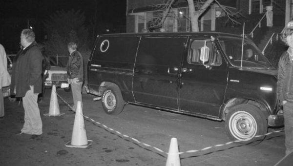 Chiếc xe tải màu đen được sử dụng trong vụ cướp