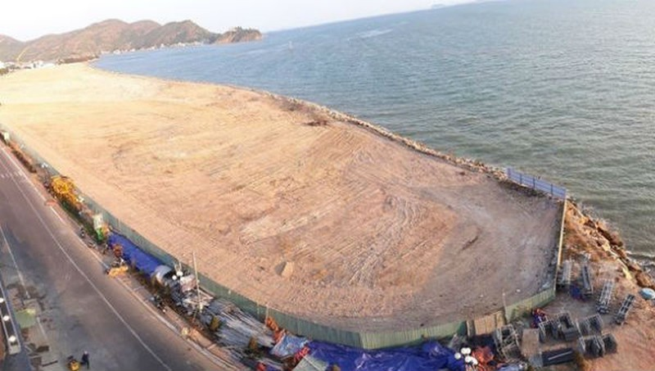 Toàn cảnh khu lấn biển khu vực Mũi Tấn (TP Quy Nhơn, tỉnh Bình Định)