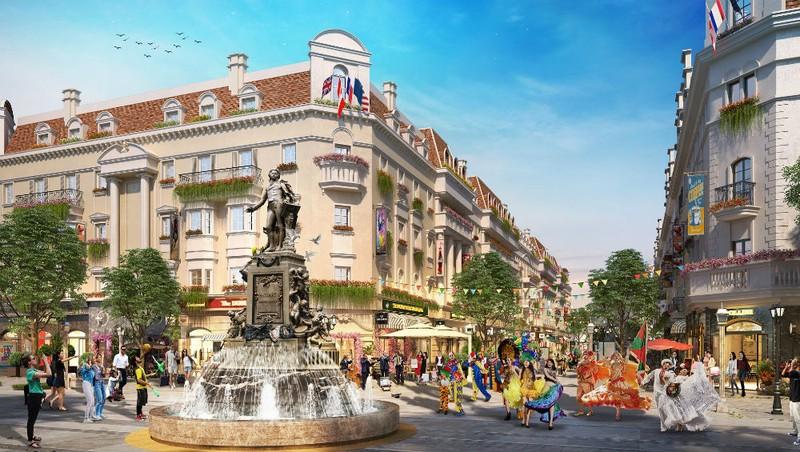 Quảng trường nội khu Shophouse Europe với các tiểu cảnh đậm chất châu Âu