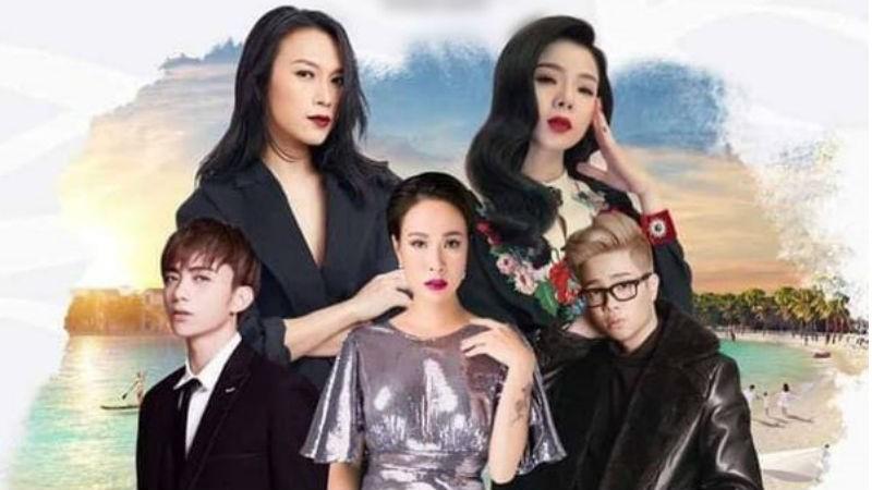Poster chương trình âm nhạc gây tranh cãi khi Mỹ Tâm đặt sau vị trí Uyên Linh.