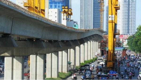 Một đoạn dự án đường sắt trên cao Cát Linh - Hà Đông