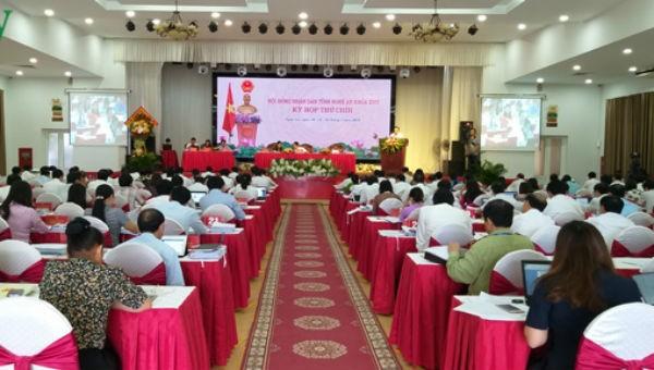 Kỳ họp thứ 9, HĐND tỉnh Nghệ An khóa XVII, nhiệm kỳ 2016-2021. Ảnh VOV