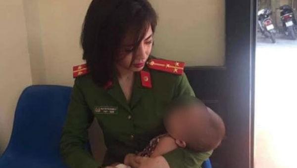 Bé gái 7 tháng tuổi đang được chăm sóc tại CA phường Phú Thượng