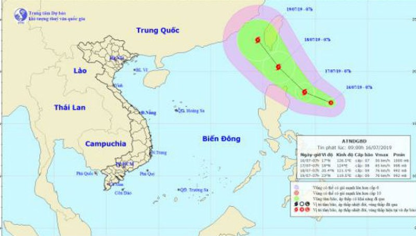 Đường đi của áp thấp nhiệt đới