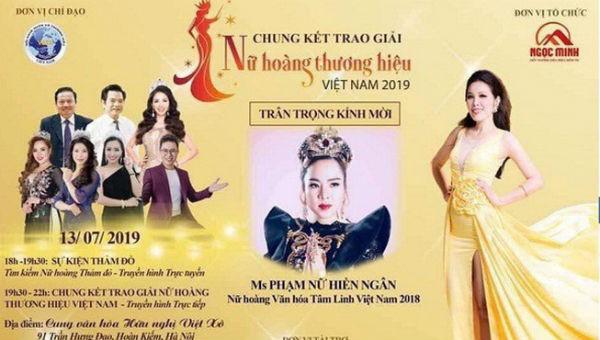 Chương trình Tôn vinh Nữ hoàng thương hiệu Việt Nam 2019 bị hủy trước giờ G