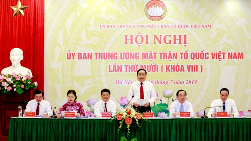Chủ tịch UBTW MTTQ Việt Nam Trần Thanh Mẫn phát biểu tại Hội nghị.