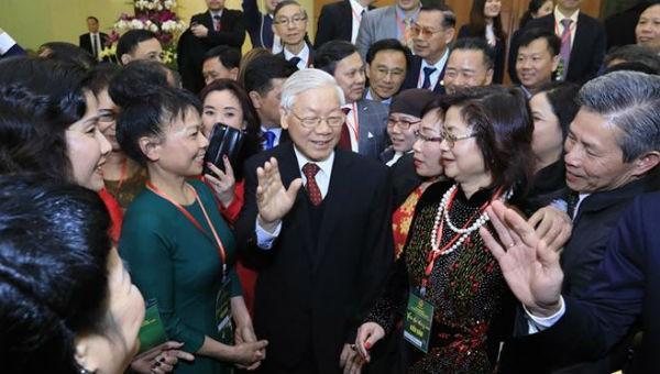 Tổng Bí thư, Chủ tịch nước Nguyễn Phú Trọng tiếp đoàn kiều bào tiêu biểu, tháng 2/2018.