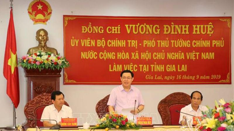 Ủy viên Bộ Chính trị, Phó Thủ tướng Vương Đình Huệ cùng lãnh đạo các bộ, ngành đã làm việc với tỉnh Gia Lai.