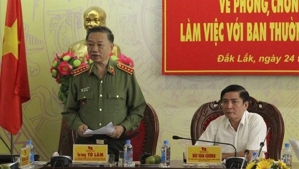 Bộ Trưởng Bộ Công an Tô Lâm phát biểu tại buổi làm việc