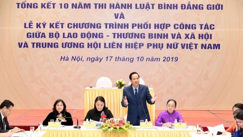 Bộ trưởng Bộ LĐ-TBXH Đào Ngọc Dung phát biểu tạ Hội nghị