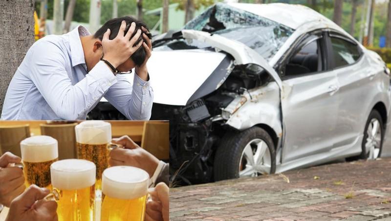 Hiện trường vụ tai nạn giao thông do người lái ôtô uống rượu bia gây ra
