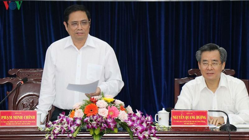 Ông Phạm Minh Chính phát biểu tại buổi làm việc. Ảnh VOV.