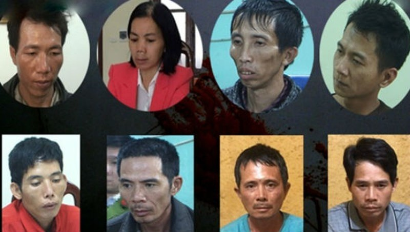 8 trong số 9 đối tượng trong vụ nữ sinh giao gà bị sát hại.