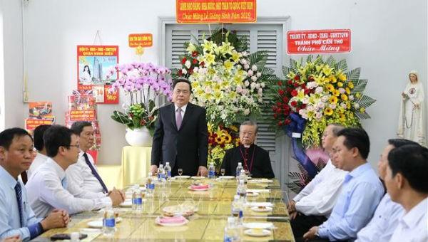 Chủ tịch Ủy ban Trung ương Mặt trận Tổ quốc Việt Nam Trần Thanh Mẫn phát biểu. Ảnh: TTXVN .