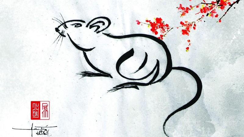 Tự họa Chuột mừng Tết