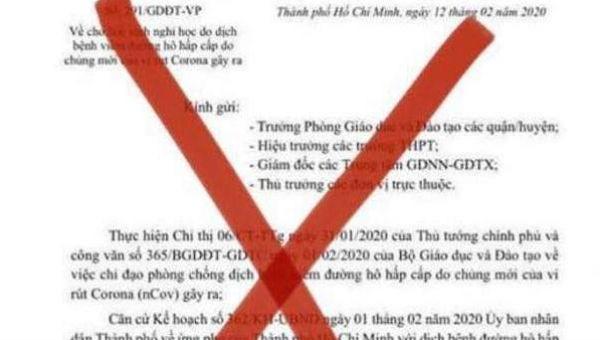 Văn bản giả thông báo TP.HCM cho học sinh nghỉ tới 21/2.