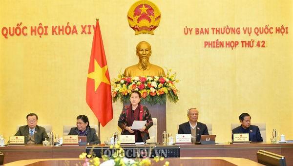 Chủ tịch Quốc hội Nguyễn Thị Kim Ngân phát biểu tại Phiên họp thứ 42 của Uỷ ban Thường vụ Quốc hội.