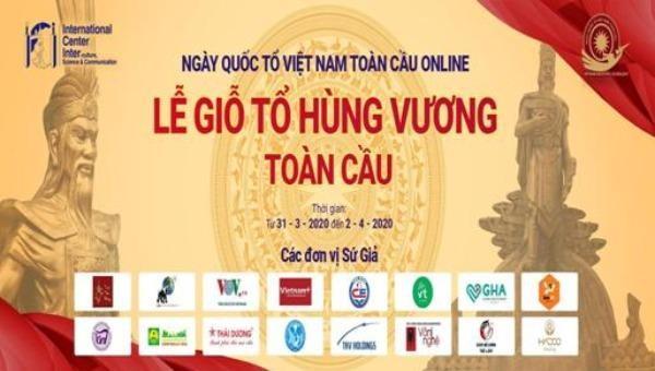Poster giới thiệu Ngày Quốc tổ Việt Nam toàn cầu online.
