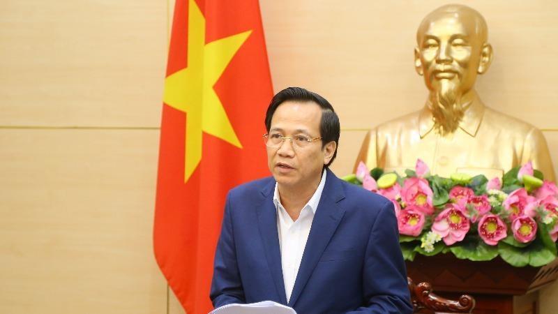 Bộ trưởng Đào Ngọc Dung phát biểu tại điểm cầu trụ sở Bộ LĐ-TBXH.