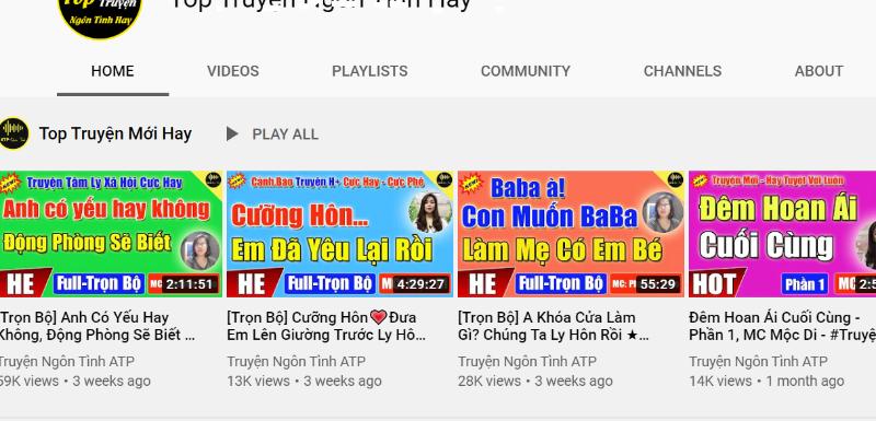 """Một kênh youtube chuyên đăng tải audio giật gân, """"câu view"""" nhưng có lượng xem lớn."""