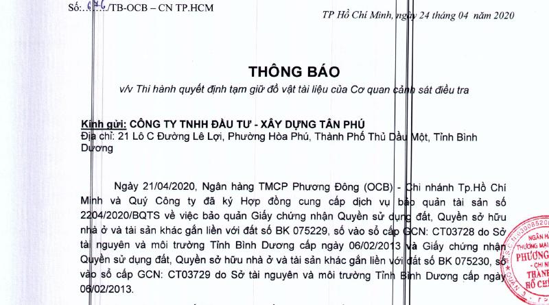 Thông báo của OCB khẳng định sổ đỏ nằm tại ngân hàng vì Tân Phú sử dụng dịch vụ bảo quản tài sản.