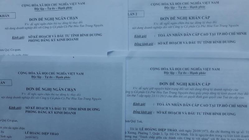 Bà Thảo 4 lần gửi đơn lên Sở KH&ĐT đề nghị ngăn chặn thủ tục đăng ký thay đổi nội dung DN với TNICC nhưng không được giải quyết.