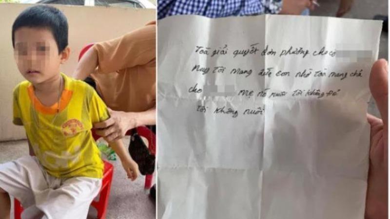 Bé trai bị bỏ lại cùng mảnh giấy nhờ trả lại cho người mẹ.