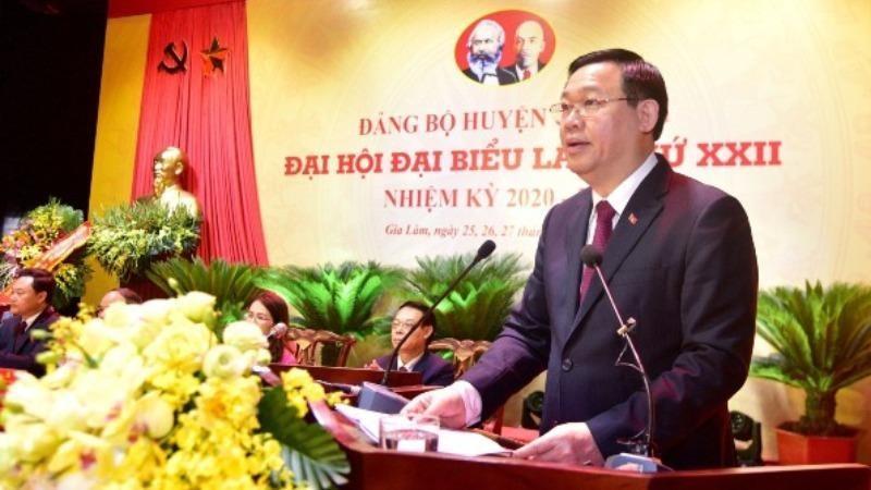 Bí thư Thành ủy Vương Đình Huệ phát biểu tại Đại hội.