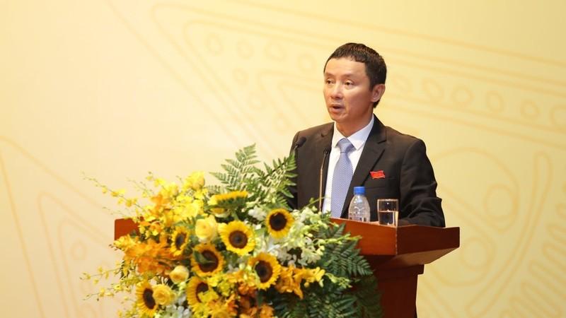 Ông Hồ Công Kỳ - Bí thư Đảng ủy, Chủ tịch HĐQT PV Power phát biểu tại Đại hội