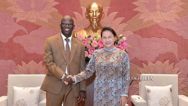 Chủ tịch Quốc hội Nguyễn Thị Kim Ngân tiếp ông Ousmane Dione - Giám đốc quốc gia Ngân hàng Thế giới (WB) tại Việt Nam.