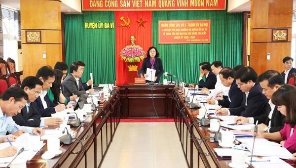 Phó Bí thư Thường trực Thành ủy Ngô Thị Thanh Hằng phát biểu kết luận buổi làm việc với huyện Ba Vì về công tác chỉ đạo Đại hội Đảng các cấp