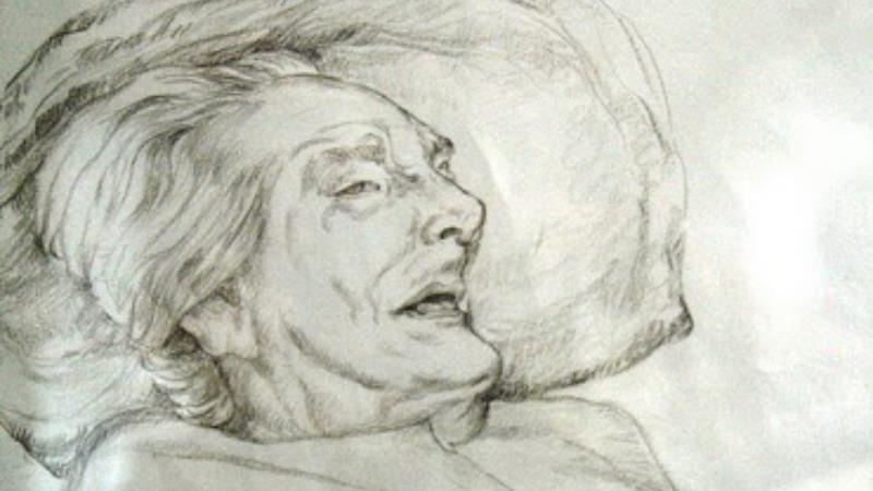 Bức tranh vẽ mẹ Thứ của nữ họa sĩ Đặng Ái Việt