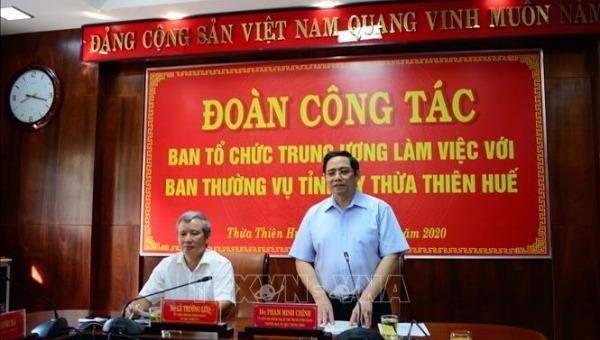 Trưởng Ban Tổ chức Trung ương Phạm Minh Chính phát biểu tại buổi làm việc.