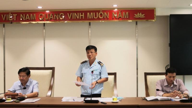 Cục Phó Cục Hải quan TP Hà Nội Nguyễn Trường Giang phát biểu tại Hội nghị.
