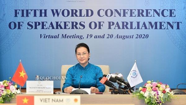 Chủ tịch Quốc hội Nguyễn Thị Kim Ngân tham dự Hội nghị trực tuyến Hội nghị các Chủ tịch Quốc hội thế giới lần thứ 5