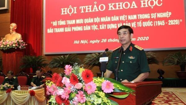 Thứ trưởng Bộ Quốc phòng Phan Văn Giang khẳng định ý nghĩa, tầm quan trọng của Hội thảo khoa học.