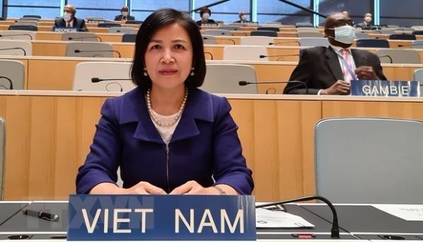 Đại sứ Lê Thị Tuyết Mai, Trưởng Đoàn Việt Nam tham dự Khóa họp lần thứ 61 các Hội đồng của các nước thành viên WIPO. (Ảnh: Tố Uyên/TTXVN)