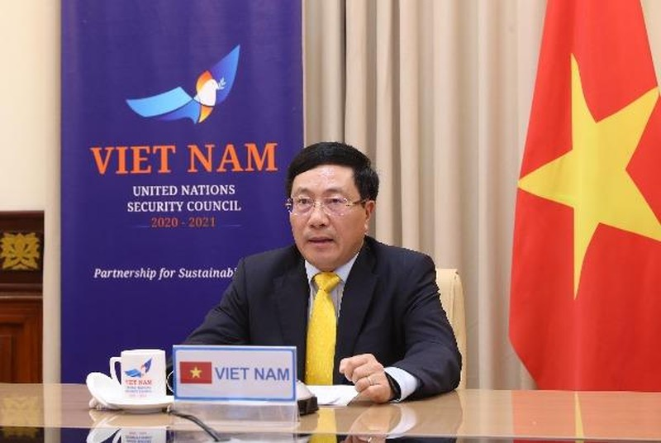 Phó Thủ tướng, Bộ trưởng Bộ Ngoại giao Phạm Bình Minh phát biểu tại phiên họp trực tuyến cấp cao của HĐBA LHQ.