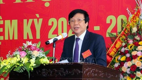 Phó Chủ tịch Thường trực Hội Nhà báo Việt Nam Hồ Quang Lợi phát biểu tại Đại hội.