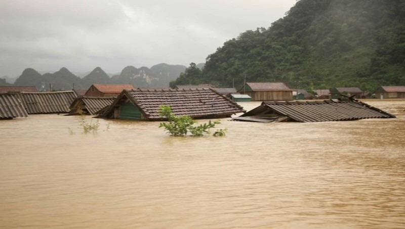 Những ngôi nhà ngập sâu trong nước lũ ở Tân Hóa, huyện Minh Hóa, Quảng Bình. Ảnh: Nguyên Phong