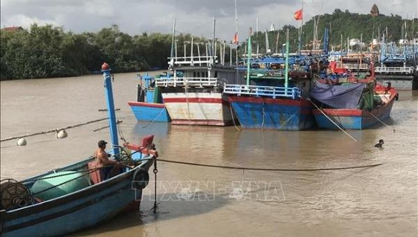 Ngư dân Phú Yên neo đậu tàu thuyền tránh bão số 10.
