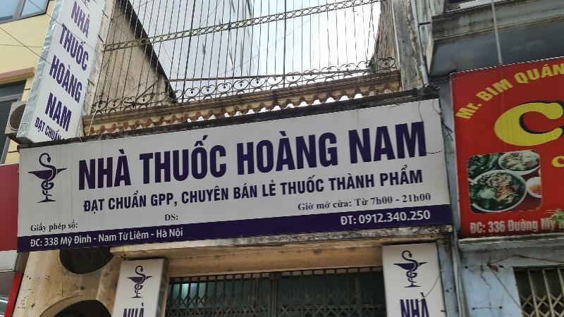 Nhà thuốc Hoàng Nam - số 338 đường Mỹ Đình chưa có giấy chứng nhận đủ điều kiện kinh doanh dược.