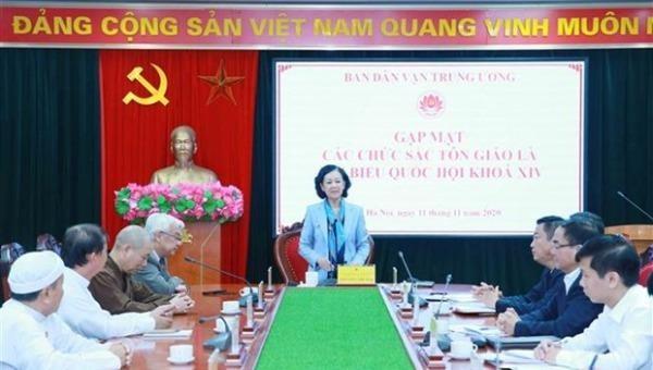 Trưởng Ban Dân vận Trung ương Trương Thị Mai phát biểu tại buổi gặp mặt. (Ảnh: Phương Hoa/TTXVN).