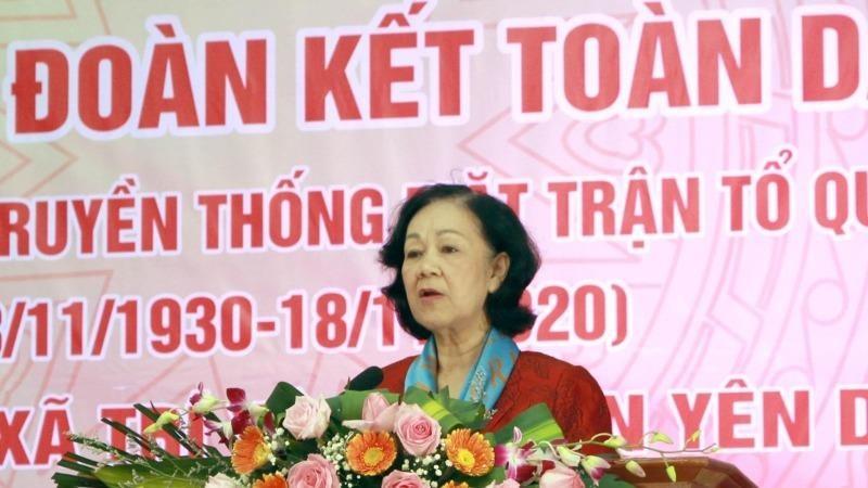 Trưởng Ban Dân vận Trung ương Trương Thị Mai phát biểu tại Ngày hội. Ảnh TTXVN.