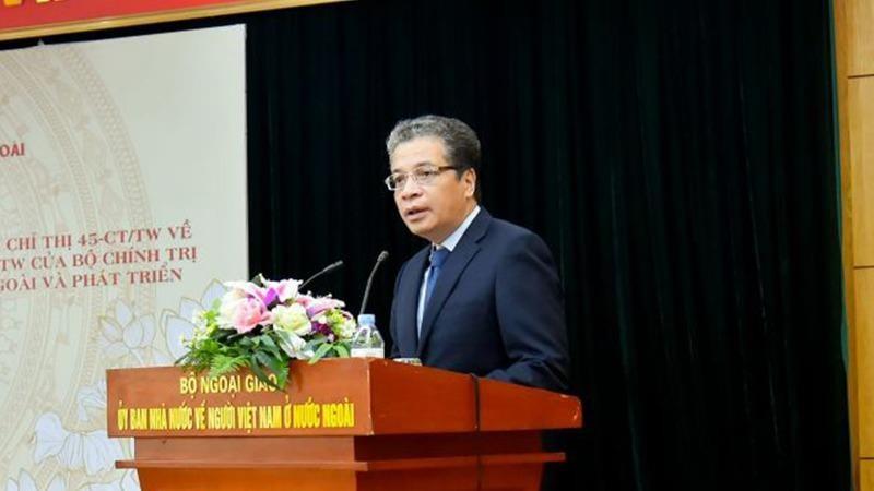 Thứ trưởng Bộ Ngoại giao Đặng Minh Khôi phát biểu tại hội nghị.